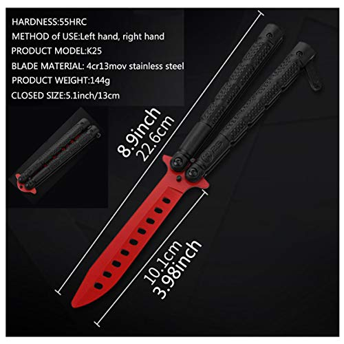 Lovfri Practice Butterfly Knife, Unsharpened Butterfly Knife for Training, Safe Dull Without Danger, Practice Butterfly Knife for Training Enhancement Skills(Black, Red)