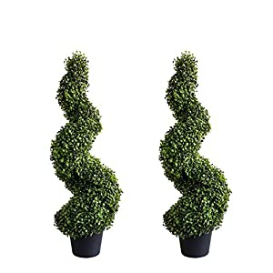 Damomo 3ft (2 Pieces) Topiary Trees Boxwood Artificial Plants Spiral Feaux Plants Potted Fake Plant Green Decorative Indoor or Outdoor (35inch)