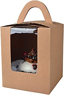 Cupcake Boxes,RetroLeo Cupcake Carriers Individual Containers With Handle And Window (CB008 Brown Kraft, 24)