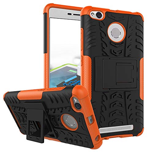 pinlu® Funda para Xiaomi Redmi 3S / Redmi 3 Pro Smartphone Doble Capa Híbrida Armadura Silicona TPU + PC Armor Heavy Duty Case Duradero Protección Neumáticos Patrón Naranja