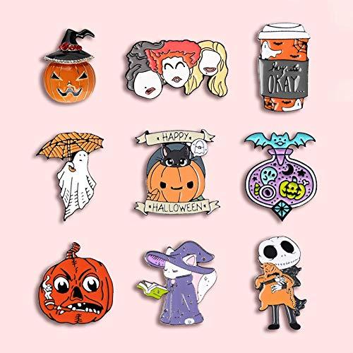 ZSCZQ Halloween Kürbis Ghost Metal Emaille Brosche Süße Katze Besen Mond Hexe Kaffeetasse Abzeichen Pin Spaß Trendy Modeschmuck Schmuck Geschenk Buds XZ1295