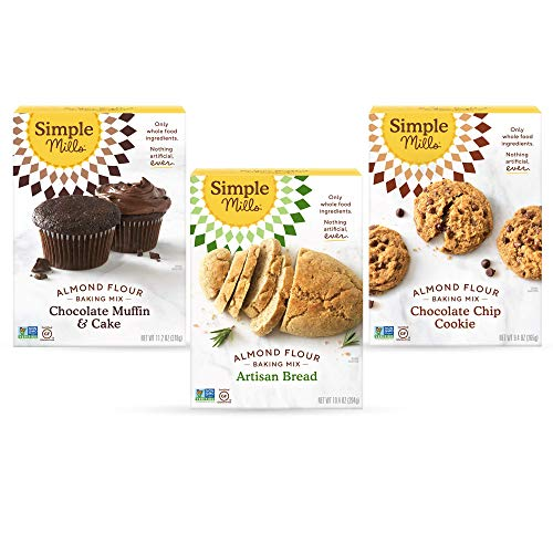 Simple Mills, Baking Mix Variety Pack, Chocolate Muffin & Cake, Chocolate Chip Cookie, Artisan Bread Variety Pack, 3 Count (Packaging May Vary)