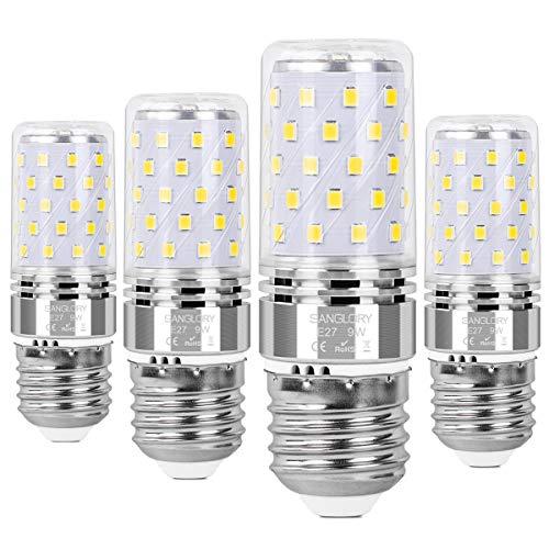SanGlory Bombilla LED E27 9W, 60 x 2835SMD LED, Luz Blanca Fría 6000K,950 lúmenes, equivalente A Lámpara Halógena 80W, Ángulo 360°, AC220-240V, No regulable - 4 unidades
