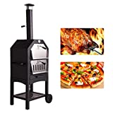 Aoxun Outdoor Pizza Oven with Stone, Portable Steel Pizza Grill, Wood Fire Pizza Heater for Backyard, with Pizza Peel, Stainless, Black