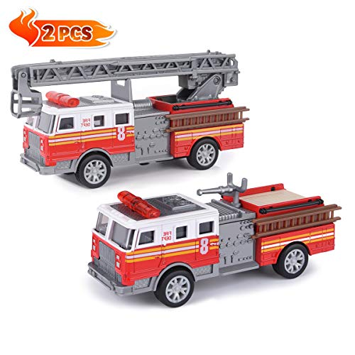 Fire Trucks Toy Vehicle Set, 2 Pack 5' Metal Die-cast Engine Fire Truck with Pull Back Friction and...