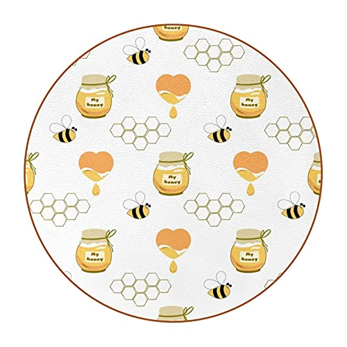 Drink Coasters Set of 6, Super Value Pack, Protection Tabletop, Modern Non Slip Microfiber Leather Mat Fit Drinking Glass Coffee Cute bee1