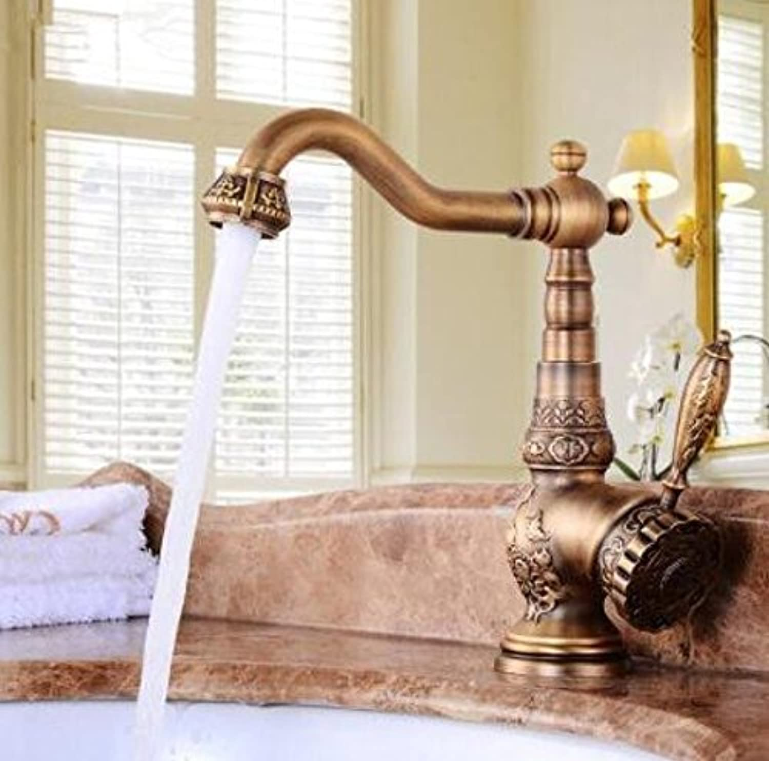 Decorry Brass Kitchen Basin Faucet Antique Faucet Retro Carved Basin Faucet redating Single Handle Single Hole Hot and Cold Water Xt944,B