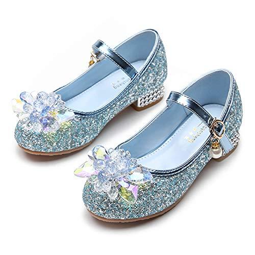 YOSICIL Niñas Zapatos de Princesa Zapatos de Tacón de Lentejuelas Zapatillasde Ballet con Velcro Zapatos de Fiesta Decoración Cristales Regalo de Cumpleaños Navidad 3-12 Años