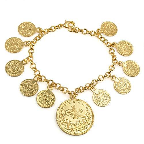 Länge 25Cm / Truthahn Coin Charm Armband Für Frauen Gold Farbe Kurdische Kette Armreif Arabischer Schmuck Naher Osten/Afrikaner