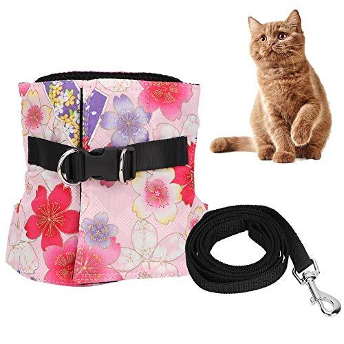 HEEPDD verstelbare kat harnas, zachte kat lood met wandelen Leash roze kersen patroon jas wandelen ontsnappen bewijs voor kitty puppy konijnen kleine honden dier, S, roze