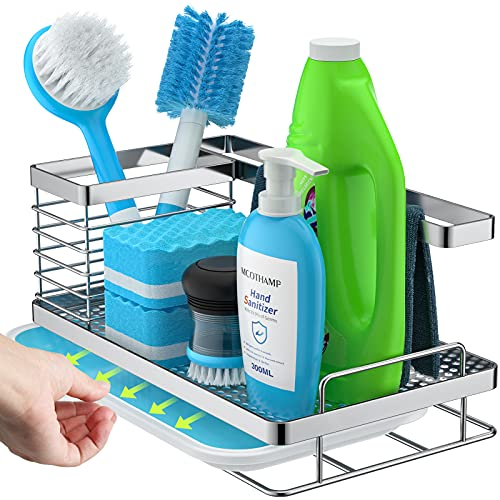 stusgo Kitchen Caddy Sink Organizer, Sponge and Brush Holder for Kitchen Sink with Removable Drain Tray, SUS304 Stainless Steel Rustproof