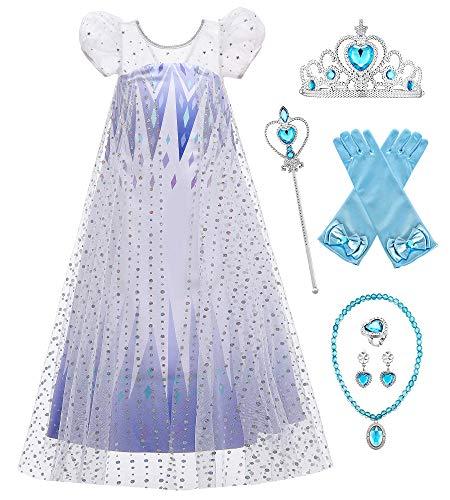 O.AMBW Frozen Queen Elsa Disfraz Vestido de Lentejuelas en Blanco y Azul Capa Manga Puff Princesa Cosplay Disfraz con Accesorio Regalo de cumpleaños Disfraces para niñas 2-10 años