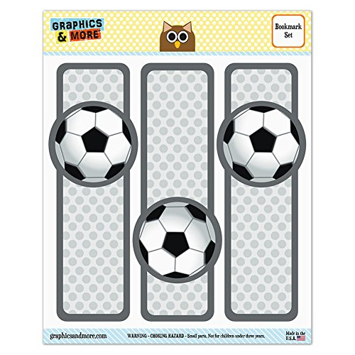 Set of 3 Glossy Laminated Bookmarks - Sports and Hobbies - Soccer Ball Football