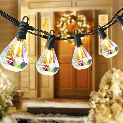 ZOTOYI Outdoor String Lights, 50Ft LED Patio Lights String with 25Pcs E12 Hanging Sockets, Waterproof IP65 Diamond Shaped Connectable String Light for Garden Porch Party Wedding Decor