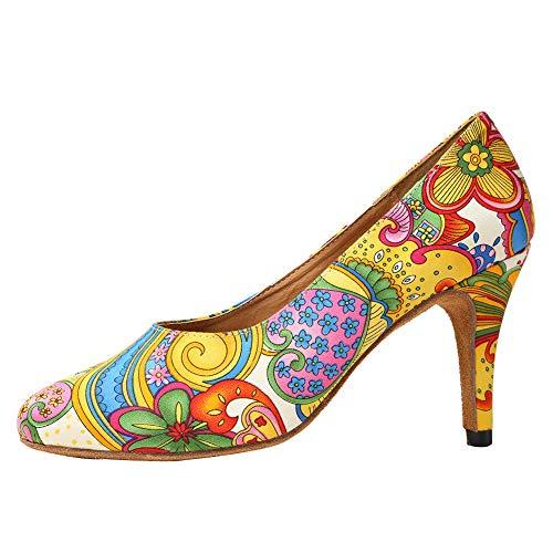 HROYL Niñas & Mujer Zapatos Baile Zapatos de Tango Zapatos de Baile Latino Mujer Salsa Cerrados,YCL254-Amarillo-10,EU38.5