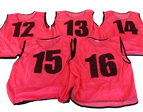 ビブス ゼッケン 12-16番 5枚セット [ピンク] [フリー 大人] 【フットサル サッカー バスケ イベント】