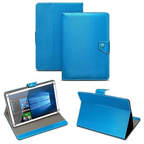 NAUC Universal Tablet Tasche mit Standfunktion Hülle für Blaupunkt Endeavour 101M 101G 101L Tablet Schutztasche in Edler Carbon-Optik Schutzhülle Cover Hülle, Farben:Blau
