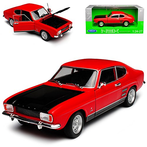 Welly Ford Capri RS I Coupe Rot mit Schwarzer Motorhaube 1. Generation 1968-1973 1/24 Modell Auto