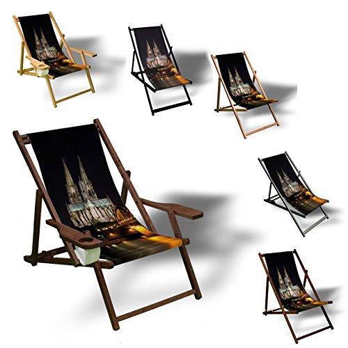 Printalio - Skyline Köln - Liegestuhl Bedruckt Balkon Garten Sonnenliege Relax Holz Terrasse | mit Armlehne, Dunkelbraun