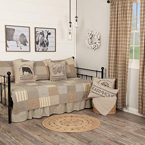 VHC Brands Sawyer Mill Daybed Quilt Set, Charcoal Grey