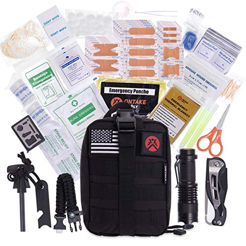 ONTAKE 250 Emergency Kit Survival Kit First Aid Kit Tactical MOLLE Pouch for Outdoor Activities Military Airsoft MilSim Gift Ideas Home Office Car Camping Hunting Hiking Disaster Adventures