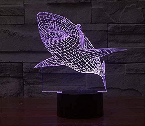 YOUPING Luz nocturna Bluetooth personalizada 3D ilusión LED luz nocturna vida marina Hai7 cambio de color alimentado por USB interruptor táctil para niños niñas cumpleaños regalos de Navidad