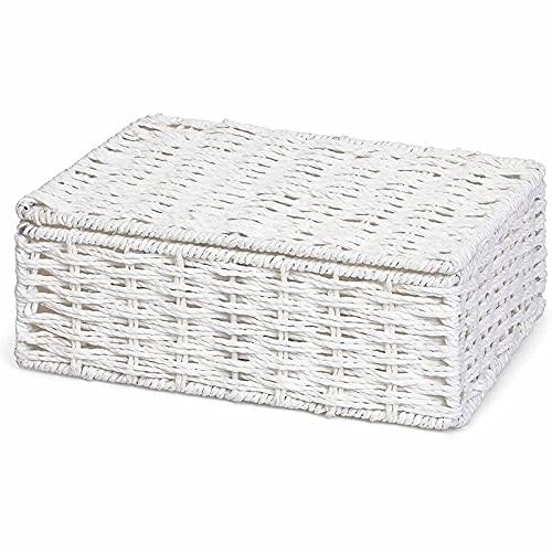 Caja de Canasta de Almacenamiento de la Cuerda de Papel con Tapa - Blanco (pequeño)