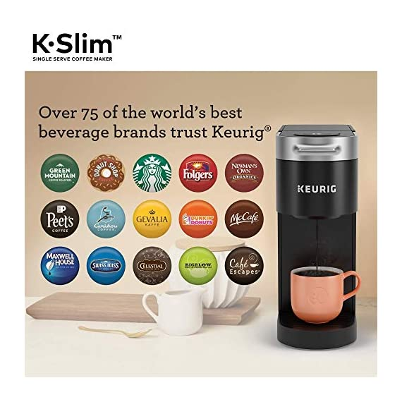 "Keurig k-slim single serve coffee maker with coffee lovers' variety pack, 40 count k-cup pods 10 fits anywhere: less than 5"" wide, fits neatly on your countertop. Multiple cup water reservoir: removable 46 oz. Reservoir lets you brew up to 4 cups before refilling. 8oz cup size 3 cup sizes: brew an 8, 10, or 12 oz. Cup at the push of a button."