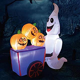 GOOSH Halloween Blow up Yard Decorations | Halloween Decorations Outdoor inflatables Ghost with Pumpkin Cart Yaed Decorations | Outdoor Halloween Decorations