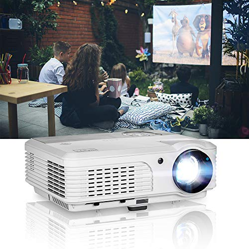 EUG WXGA LCD 1080P Projector Home Theater, 4400 Lumen LED Inside Outside Movie Projectors with Zoom Compatible with TV Stick, HDMI, USB, VGA, Xbox, Laptop for Gaming Sports Matches Artworks Party.