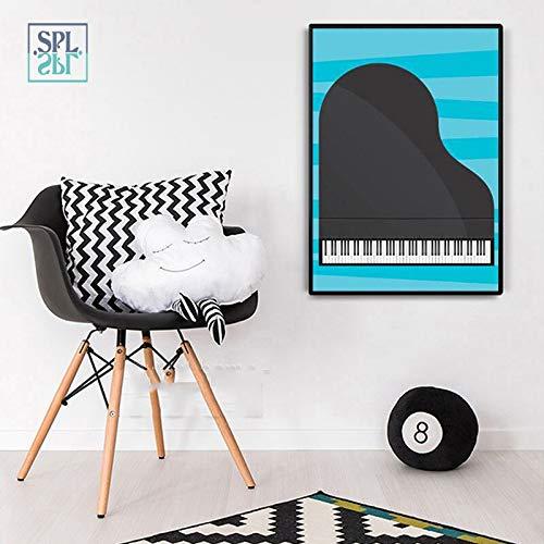 wojinbao Kein Rahmen Schwarz und Weiß Klavier Bild Niedlichen Cartoon Ornamentik Musikinstrument Leinwand Kunstdruck Poster ng für Schlafzimmer 60x90 cm