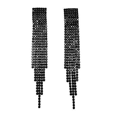 Extra Long Bling Bling Tassel Earrings Statement Art Deco Great Gatsby Rhinestone Crystal Drop Earrings or Bracelet Beauty Pageant Bridal Wedding Party Earrings Jewelry