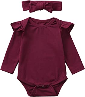 Voberry Unisex Baby Boy Girl Short Sleeve Ruffle Romper Bodysuit Jumpsuit Tops Summer Spring Clothes Headband Set