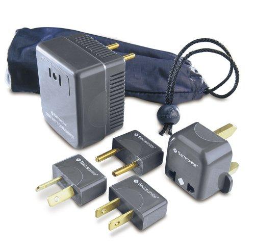Samsonite Converter/Adaptor Plug Kit with Pouch, Charcoal Grey