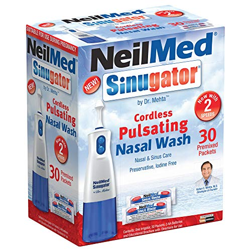 NeilMed Sinugator Cordless Pulsating Nasal Wash Kit with One Irrigator, 30 Premixed Packets and 3 AA Batteries
