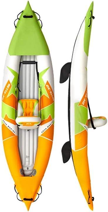 kayak, canoa gonfiabile per 1 persona, ispessita gonfiabile acqua barca drift barca pesca 312 × 80 cm bbzz b092dg6bfj