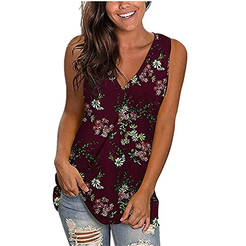 Camisola Mujer T-Shirts Personalidad Moda Verano Cuello V Mujer Tops Exquisito Color Flores Impresión Sin...