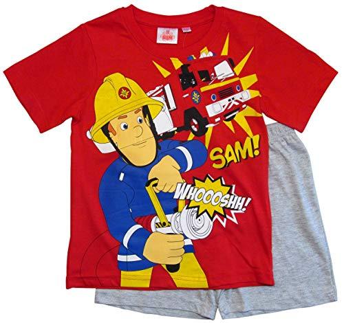 Feuerwehrmann Sam Schlafanzug Shorty Jungen (Rot-Grau, 104-110)