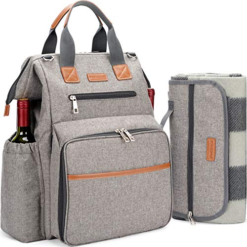 HappyPicnic Picnic Backpack for 4 Person Set Pack with Insulated Waterproof Pouch for Family Outdoor Camping  Khaki