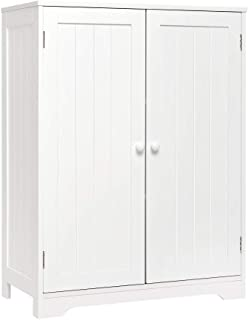 Meerveil - Meuble de Salle de Bain - Meuble de Rangement Buffet avec 180° 2 Portes et 3 Étagères Moderne MDF Peinture 60x3...