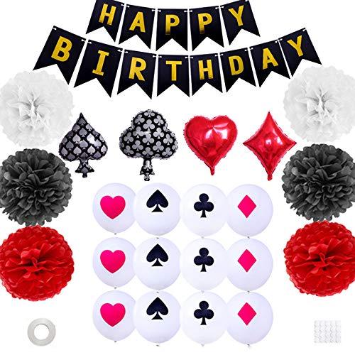 Xinqin - Accesorios de decoración para fiestas de cumpleaños con diseño de póquer de póker en color rojo y negro