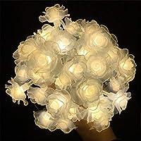 LEDローズフラワーストリングライト、フェアリーストリングライトガーランドライト、結婚式のバレンタインデーのためのバッテリー式装飾ライト、ベッドルーム、室内装飾