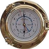 Exclusivo Lujo Ojo de Buey Reloj con Tide- Reloj, Latón Pulido Ø 22CM