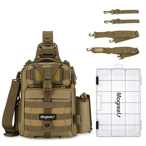 Magreel Angelrucksack mit Angelkoffer Angeltasche mit Rutenhalter und 3600 Köderbox Rucksack Schultertasche Rutentaschen für Angelzubehör Angelausrüstung Angeln - Khaki