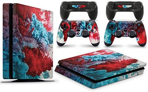 giZmoZ n gadgetZ GNG PS4 Slim Konsolen-Gehäuseaufkleber, Motiv: Colour Explosion, inklusive 2er-Set mit Aufklebern für Controller