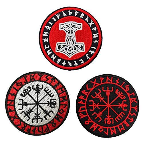 Parche bordado con diseo de brjula vikinga, Vegvisir, para planchar o coser