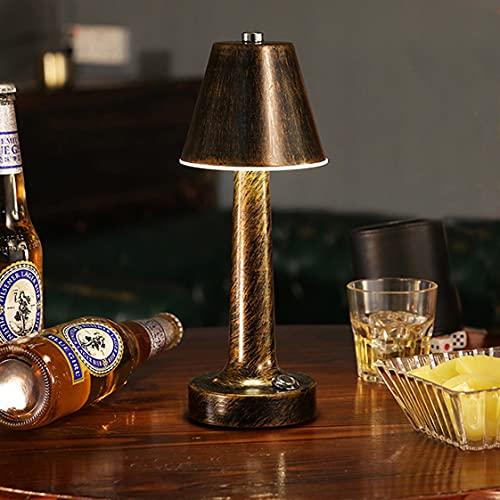 HMAKGG LED Lamparas De Mesa De Noche Vintage Inalambrico, 1500 mAh LED Lampara De Escritorio Recargable Sin Cable Recargable Para Restaurante/Bar/Mesita De Noche,White light