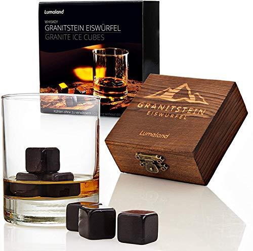 Lumaland 9 Whiskysteine aus Granit im Geschenkset - professionelle Zange aus Edelstahl, Holzbox, Stoffbeutel - ideale Eiswürfel-Alternative Wiederverwendbare Kühlsteine Whiskey Stones - Schwarz
