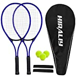 HIRALIY Adult Recreational 2 Players Tennis Rackets ,27 Inch Super Lightweight Tennis Racquets for Beginners, Including 2 Tennis Rackets, 3 Tennis Balls, 2 Tennis Overgrips and 1 Tennis Bag