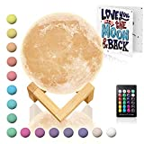 Moon Lamp with Timer 16 Colors - Moon Light 3D Moon Lamp - Seamless - Moon Night Light with Stand - Mood, Globe, Cool Lamp, Gift, with Wooden Stand, Gift Box, Moonlight LED